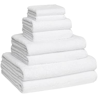 Home and Plan Turkish Cotton Bath Towel Set - Pack of 8 with 2 Bath Sheets (30x60) - White