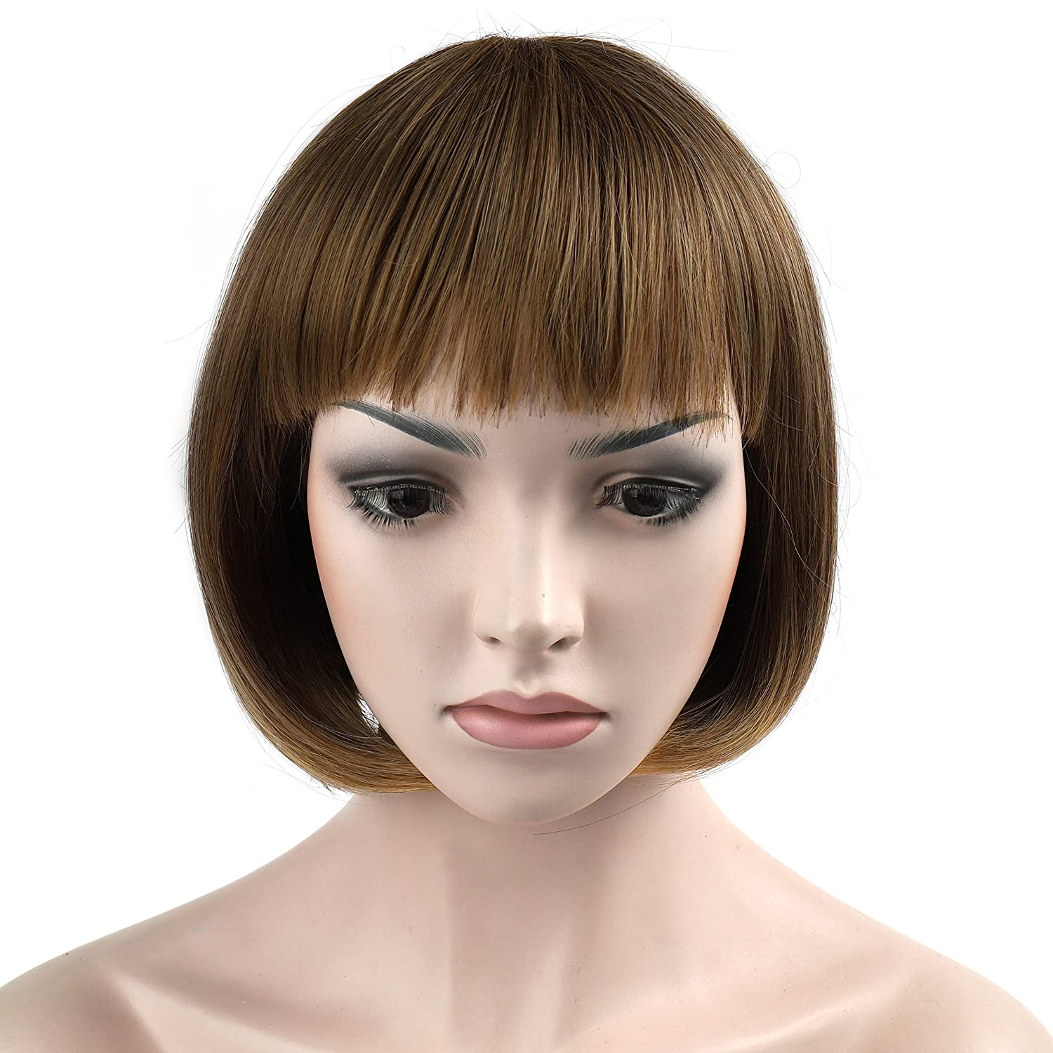 OneDor 10 Short Straight Hair Flapper Cosplay Costume Bob Wig (1001# - White)