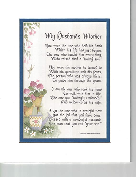 Amazon Genies Poems My Husbands Mother A Poem Birthday Present For In Law 87 Home Kitchen