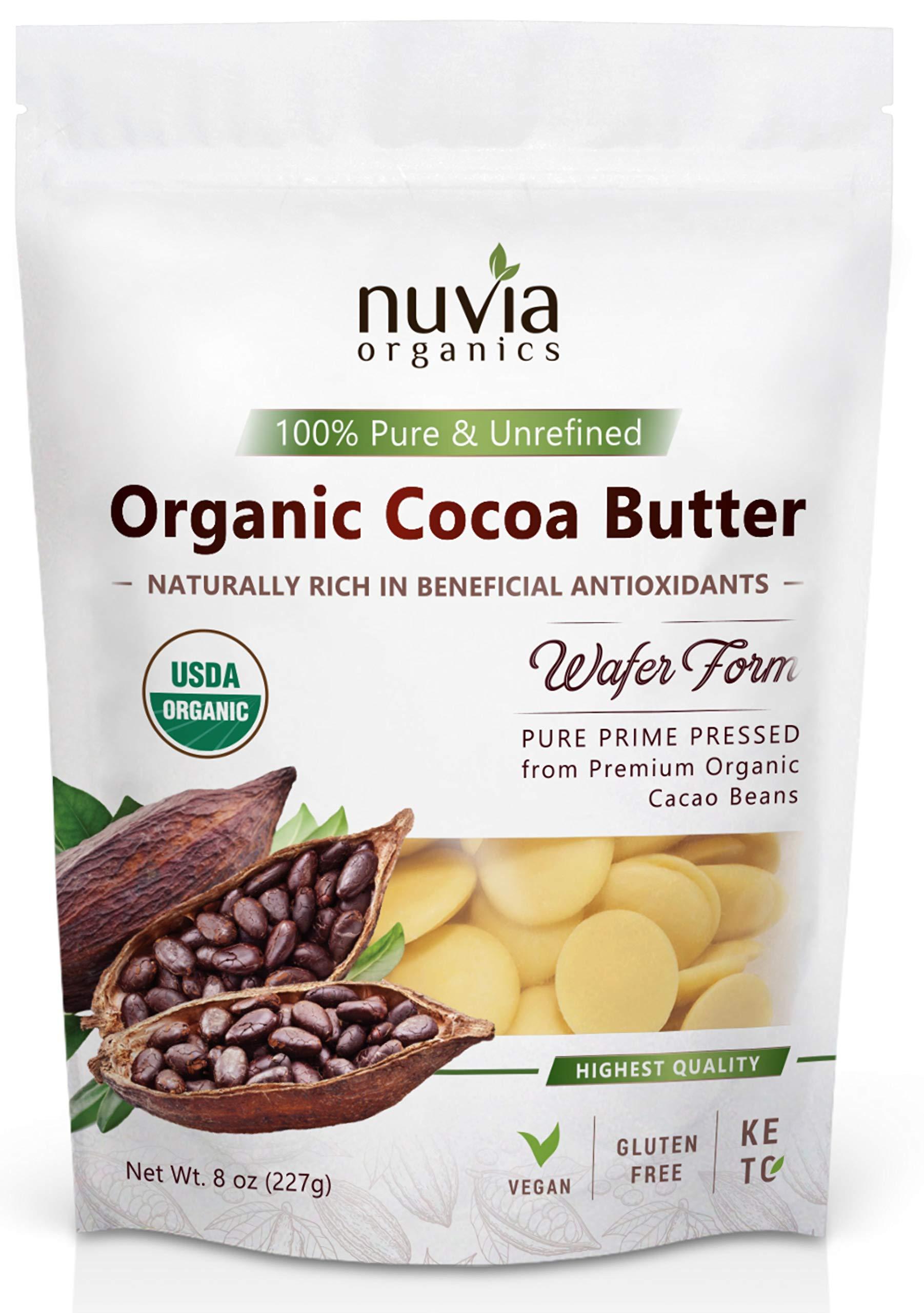 Nuvia Organics Cocoa Butter - 100% USDA Certified Organic, Wafer Form, Non-GMO, Unrefined, Gluten-Free, Food Grade, Edible, Keto, Vegan; 8oz
