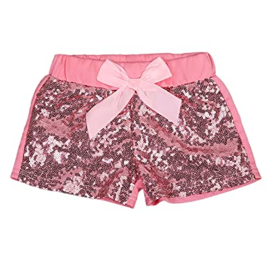 d1de2f366 Amazon.com: Baby Girls Shorts Toddlers Sequin Bow Pants Boutique Clothing:  Clothing