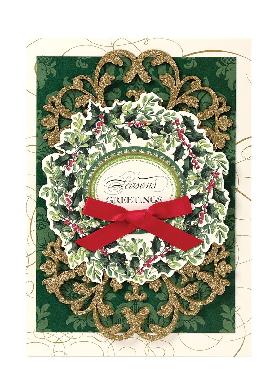 Anna Griffin Christmas Cards.Handmade Dimensional Holly Wreath Christmas Cards Embellished With Glitter By Anna Griffin Set Of 10 Cards And Envelopes