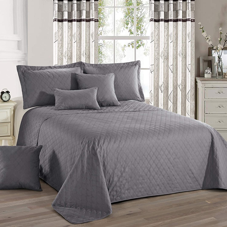 f/ür Doppelbett Delindo Lifestyle Tagesdecke Bett/überwurf Premium GRAU 220x240 cm einfarbig f/ür Schlafzimmer