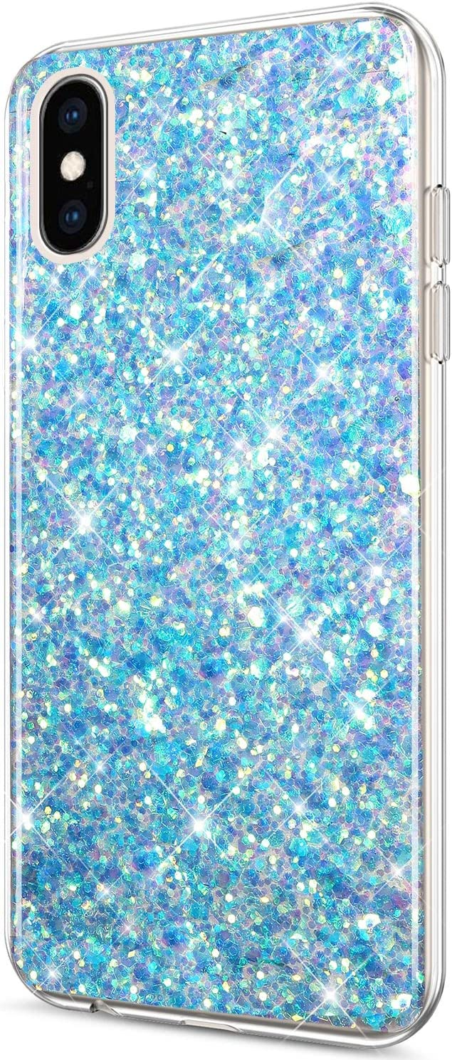 Case for iPhone Xs Max Case Glitter Bling Crystal Sparkly Shiny Bling Powder 3D Diamond Paillette Slim Glitter Flexible Soft Rubber Gel TPU Protective Case Cover for iPhone Xs Max,Blue