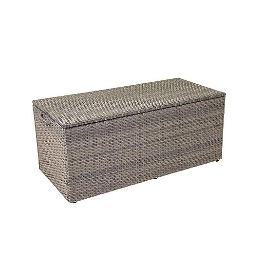 greemotion coffre de jardin en rsine tresse gris malle de rangement design coffre de - Coffre De Rangement Exterieur