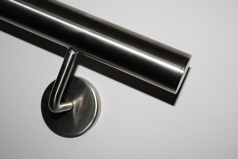 Edelstahl Handlauf V2A 42,4mm 240K geschliffen Wandhandlauf geteilt mit gerader Endkappe 5000 mm