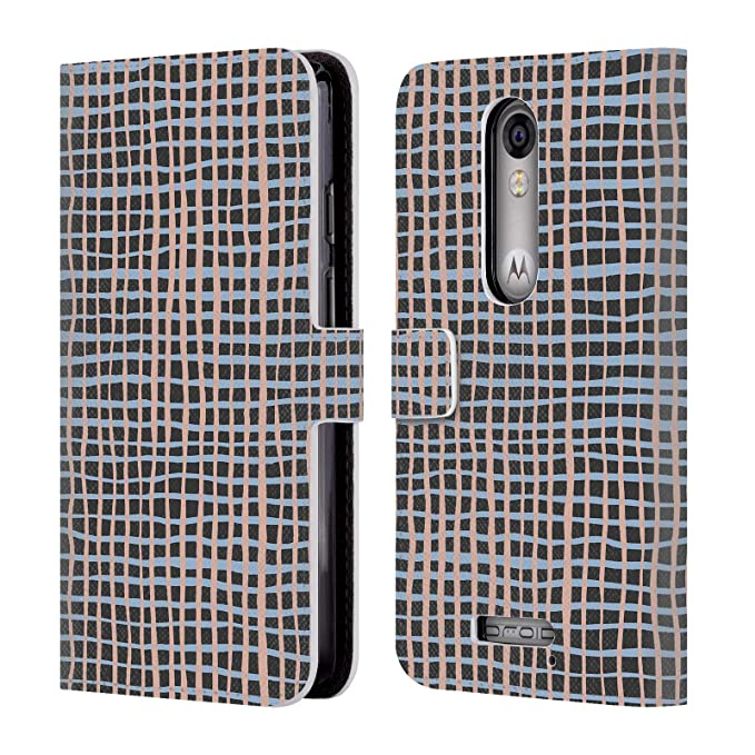 Official Ninola Navy Grid Leather Book Wallet Case Cover for Droid Turbo 2 / X Force