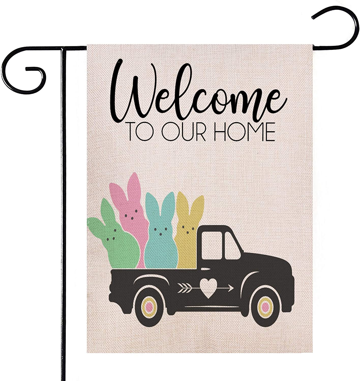 Hlonon Easter Garden Flag 12x18 Double Sided Welcome Garden Flag Easter Bunny Rabbit Car Easter Spring Decor for Easter Yard Decorations Outdoor and Home Rustic Farmhouse