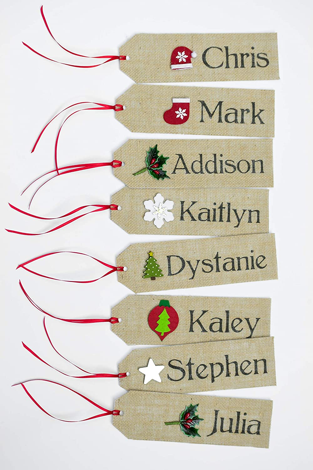 Personalized Stocking Name Tags Rustic Christmas Burlap Name Tags Stocking Custom Order Personalized Tags Names Hanging Christmas Gift Tag Snowflake