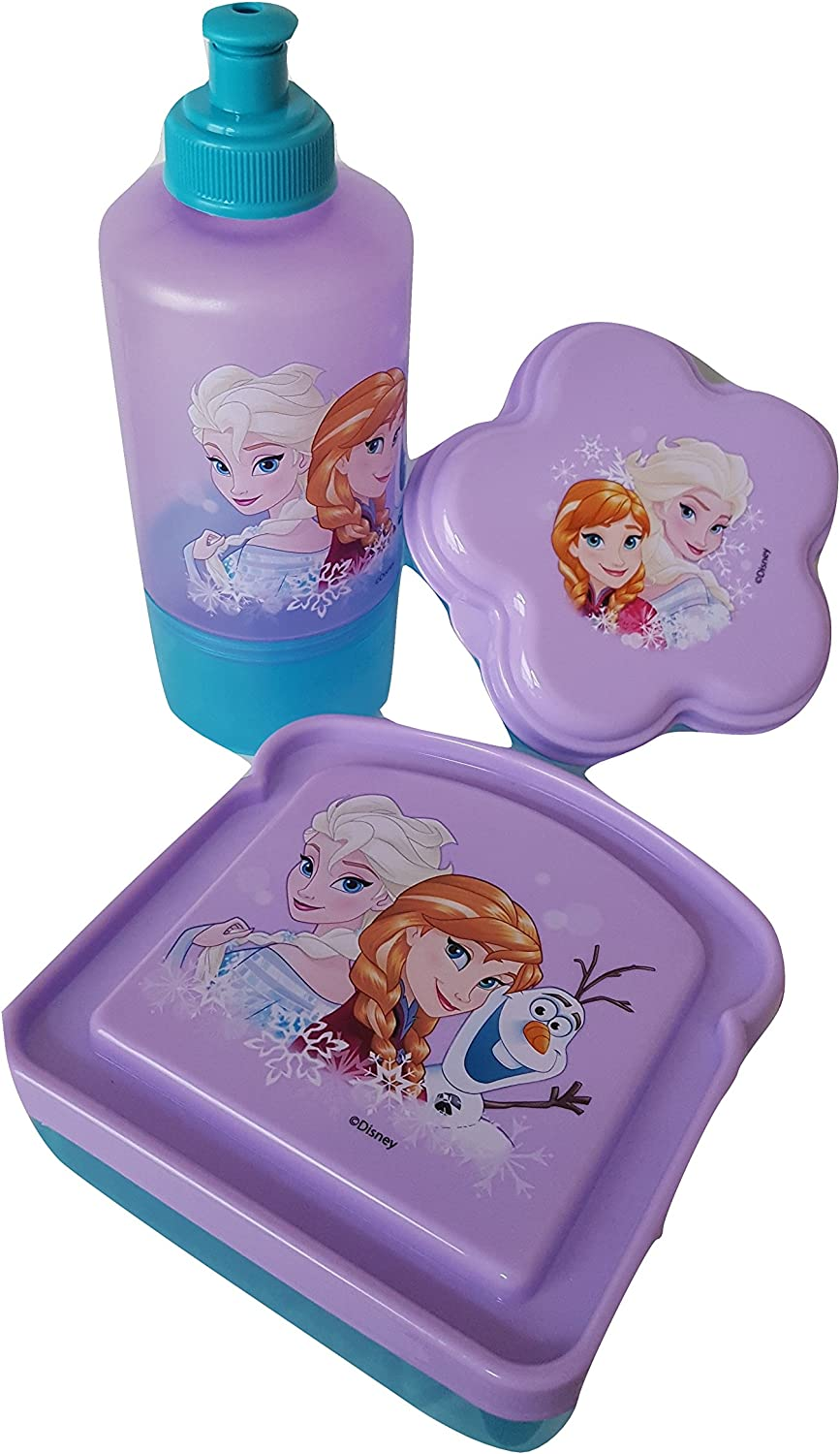 Frozen BPA Free 1 Pull-Top Jugs with Attached Snack Containers, 1 Sandwich Box, 1 Snack Container by Zak Designs Bundle Set