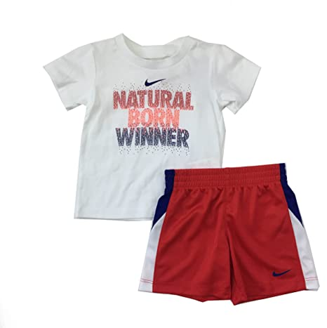 20a1a7921 Amazon.com: Nike Infant Boys Natural Born Winner 2 Piece Tee Shirt and  Shorts Set University Red Size 12 Months: Sports & Outdoors