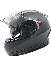 Nat Hut Casco Moto Integral ECE Homologado. Casco Scooter para Hombre y Mujer. Casco Unisex Negro de Motocicleta para Adultos con Doble Visera Anti-rasguños y Protección Rayos UV (M 56-58cm, Negro)