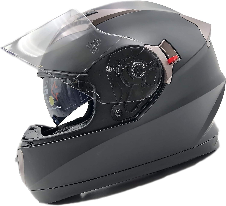 NATHUT Casco Moto Integral ECE Homologado. Casco Scooter para Hombre y Mujer. Casco Unisex Negro de Motocicleta con Doble Visera Anti-rasguños y Protección Rayos UV (XL 60-62cm, Negro) NH010