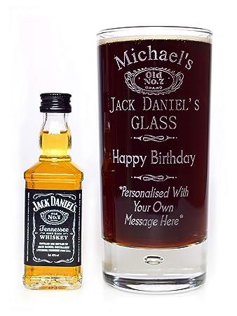 Graviertes Personalisiertes Jack Daniels Geburtstag Glas Miniatur