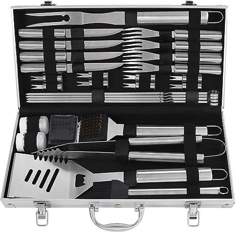 grilljoy 29PC Herramientas Parrilla Kit de Utensilios Barbacoa Set - Utensilios para Barbacoa Juego de Accesorios BBQ de Acero Inoxidable -Utensilios ...
