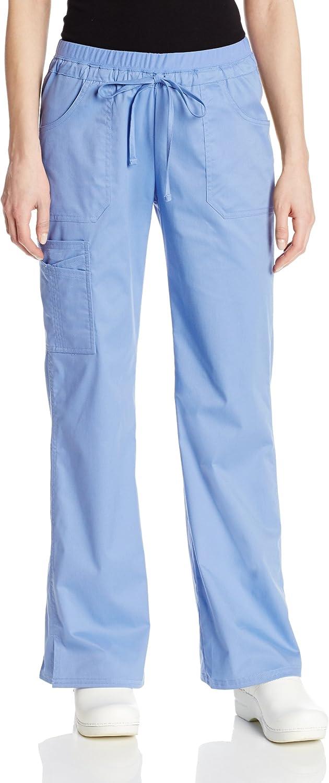 Cherokee Workwear Core Stretch 24001 Women'S Low-Rise Cargo Scrub Pants, Ciel, Medium Tall