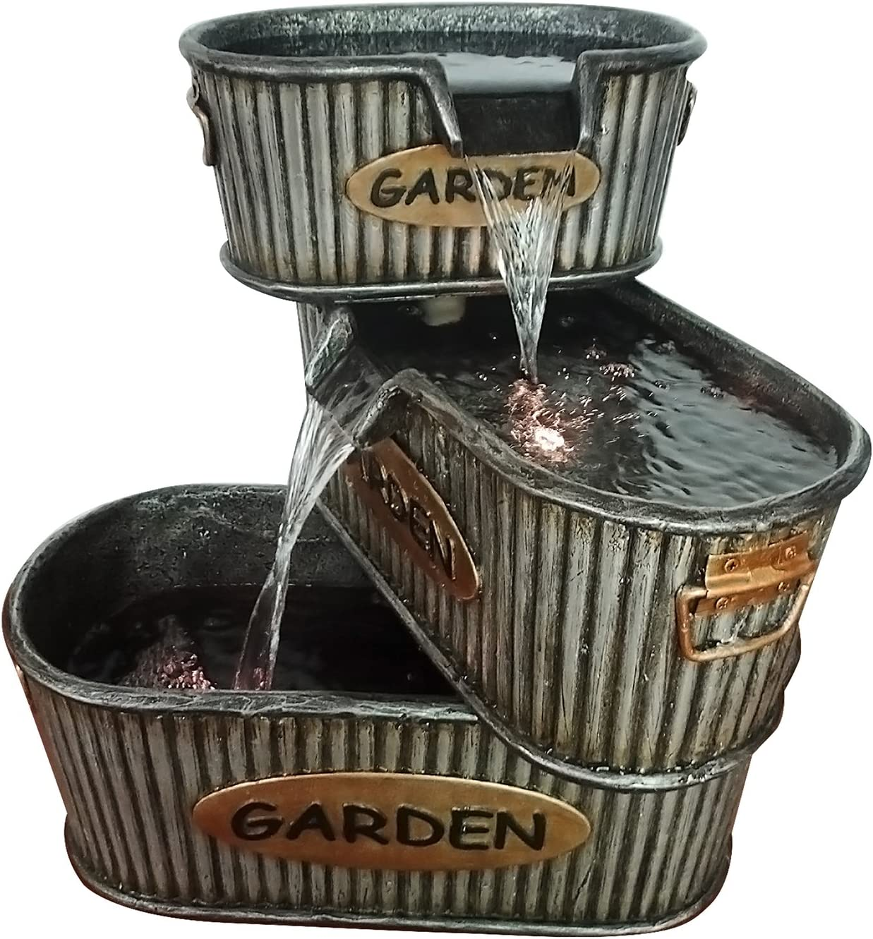Alpine Corporation 3-Tier Garden Tin Fountain - Old-Fashioned Outdoor Waterfall for Patio, Deck, Porch - Yard Art Decor