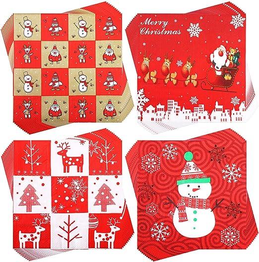 Pack Of 20 Plain Christmas Xmas Paper Napkins Serviettes Tableware Santa 2 ply