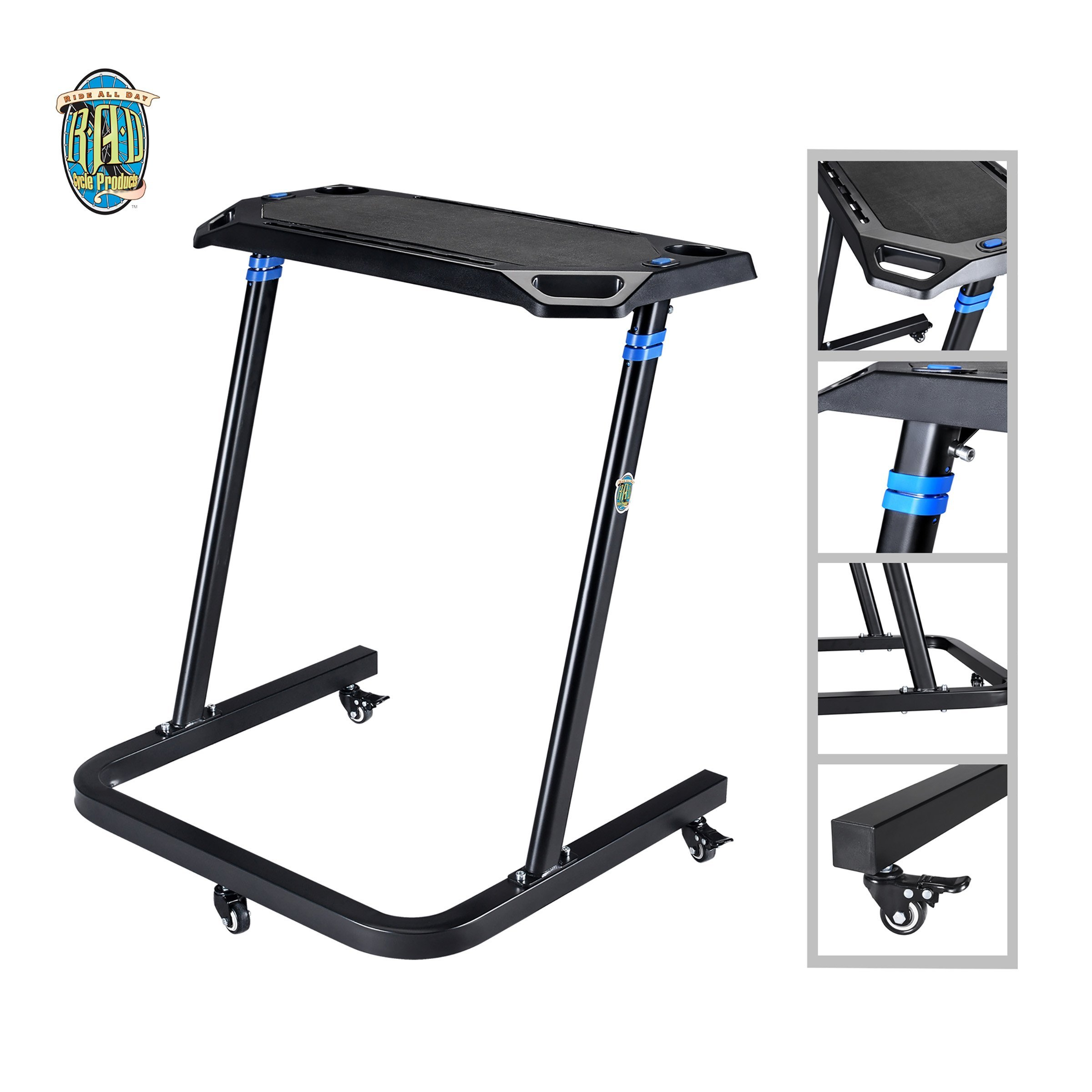 Portable Fitness Desk- Adjustable Height Workstation for Bikes or Standing-Work and Cycle Indoors on Laptop or Tablet by RAD Cycle Products by RAD Cycle Products