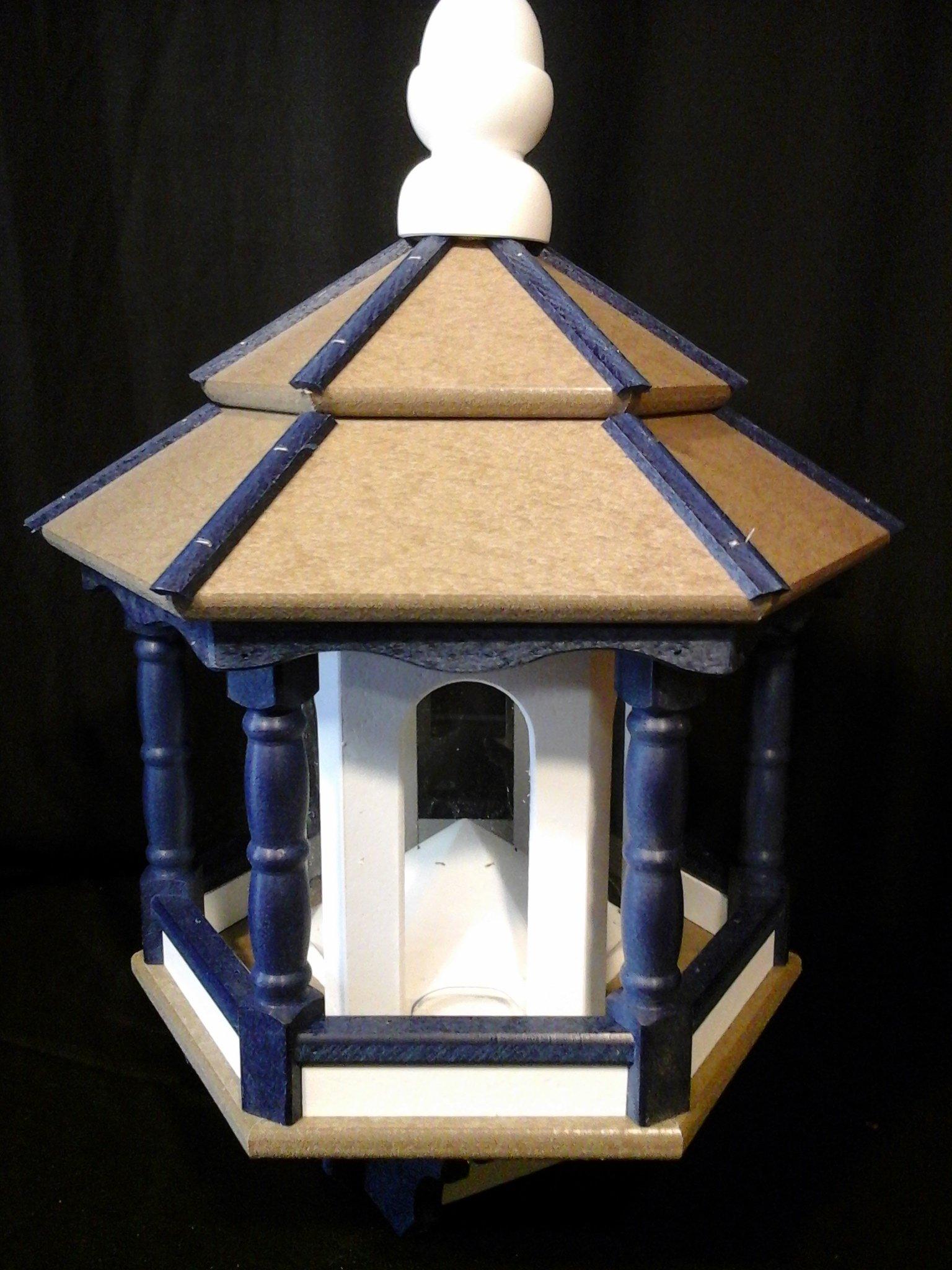 Vinyl Bird Feeder Amish Homemade Handmade Handcrafted Weatherwood, Blue, White