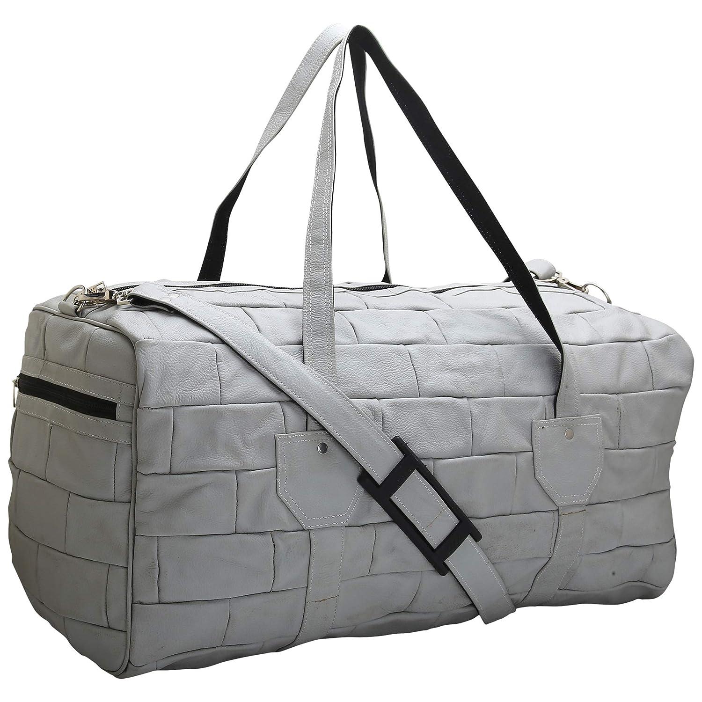 BDS CREATIONS SHAYMA 4 GREY PURE LEATHER PANAMA SUPER TRAVELLING LUGGAGE BAG//HANDBAG//SHOULDER BAG//DUFFEL BAG
