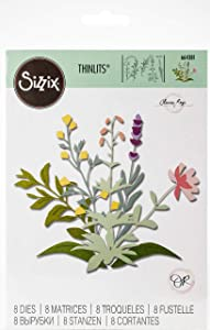 Sizzix Thinlits Die Set 8 Pack Spring Stems by Olivia Rose, Multicolor