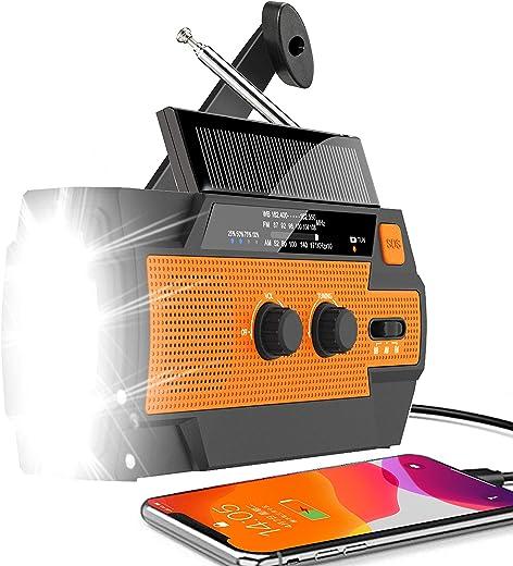 Emergency Weather Radio 2021 Newest Version Hand Crank Radio Flashlight Solar Radio Portable 4000mAh Power Bank AM/FM/NOAA Radio with Super Bright Flashlight&Motion Sensor Reading Lamp, Phone Charger