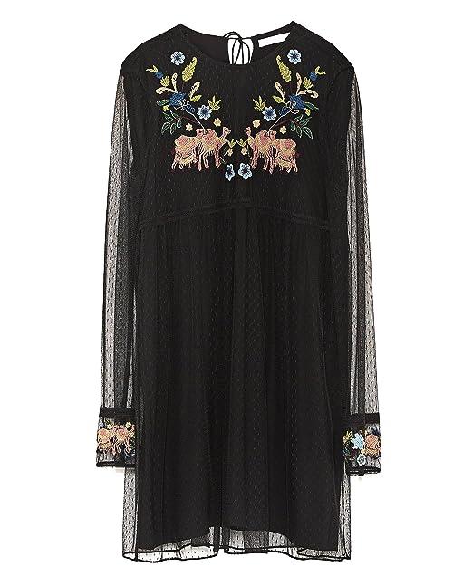 14bdcd1a Zara Women Plumetis Embroidered Dress 7521/327 (Large): Amazon.ca ...