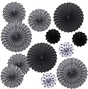 OnUpgo Paper Fans Black Party Hanging Paper Fans Set, 12PCS Mexican Fiesta Kids Party Decorations Hanging Banner for Wedding Birthday Engagement Bridal Shower Baby Shower Events Accessories