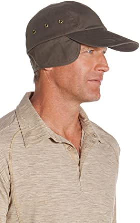 cec40b940cff6a Coolibar UPF 50+ Men's Wax Cotton Baseball Cap - Sun Protective (Medium-  Brown