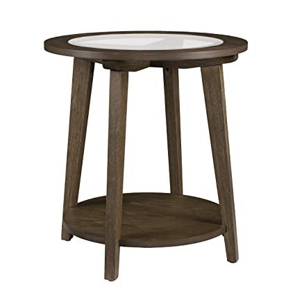 Amazon Com Furniture Hotspot Round Wood Glass Top Side Table
