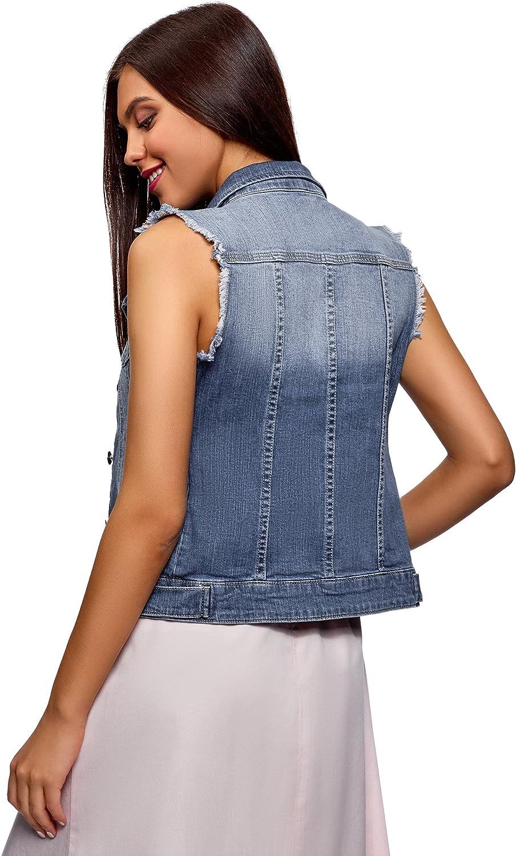 oodji Ultra Donna Gilet in Jeans con Tasche Decorative