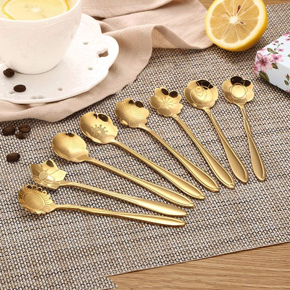 WDNMD Stainless Steel Desert Spoon Long Handle Coffee Spoons Set Flower Shape Dinner Spoon Smooth Curve Tea Spoon ZR-55 (Gold) by WDNMD (Image #7)