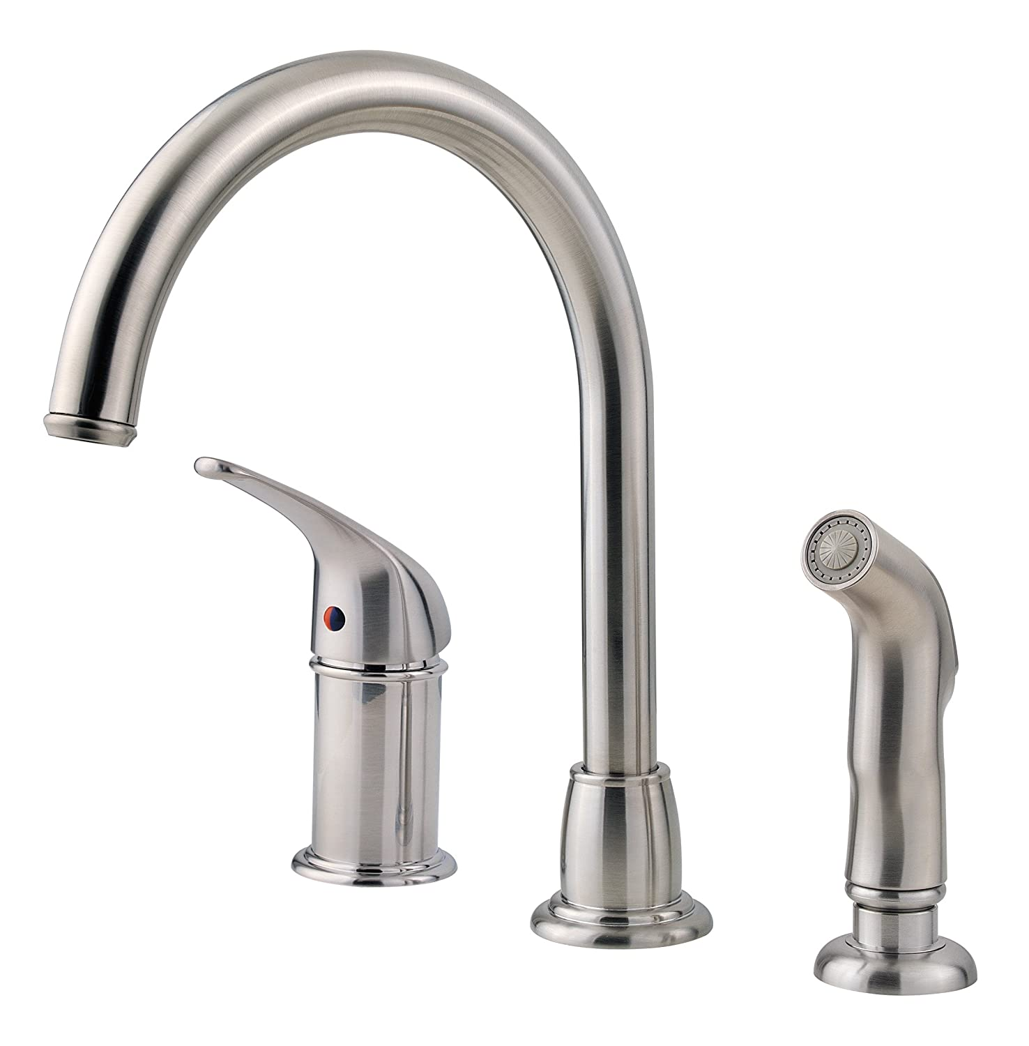 Excellent Pfister Lf Wk1 680S Cagney 1 Handle Kitchen Faucet With Side Spray In Stainless Steel 1 8Gpm Beutiful Home Inspiration Xortanetmahrainfo
