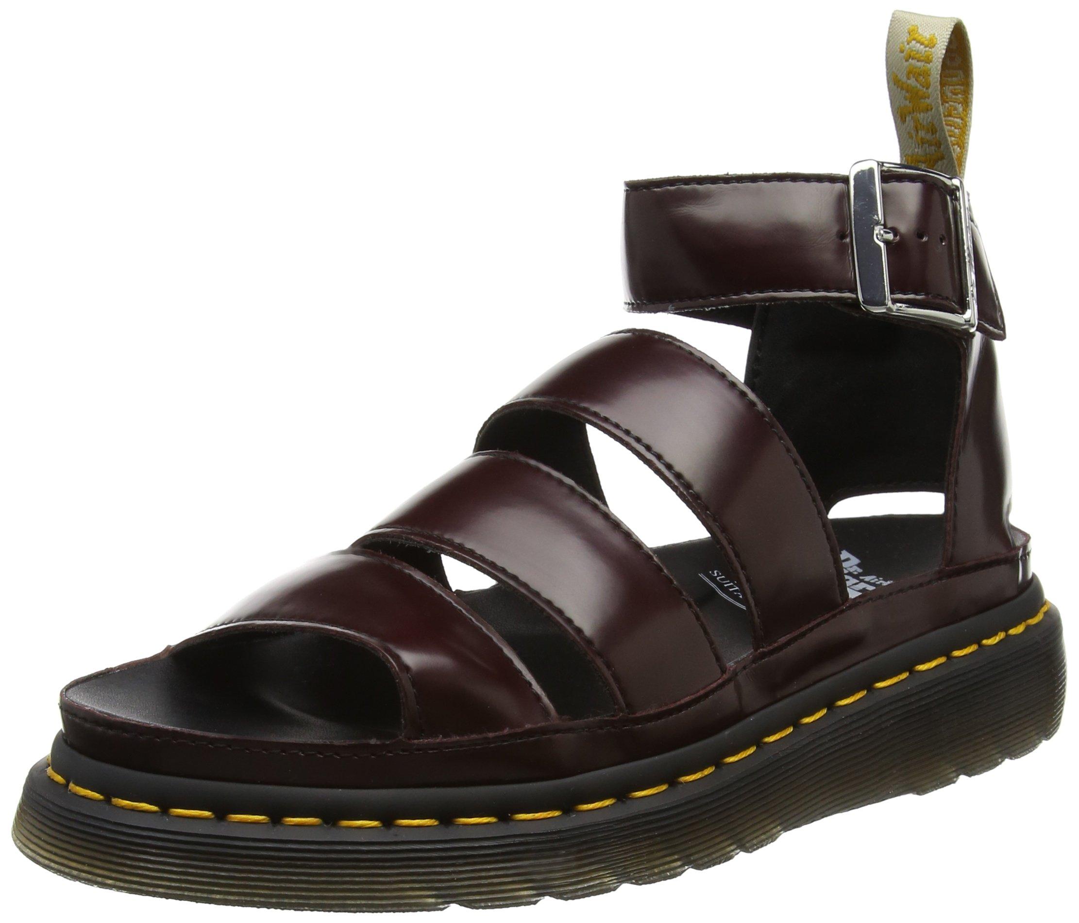 Dr. Martens Women's Vegan Clarissa II Chunky 3 Strap Sandals, Burgundy, Faux Leather, Cotton, 4 M UK, 6 M US