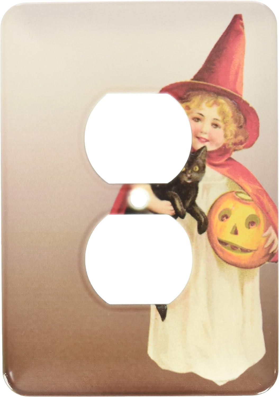 3dRose lsp/_126078/_6 Vintage Halloween Little Girl Witch Holding A Black Cat and Jack O Lantern Pumpkin 2 Plug Outlet Cover