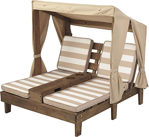 KidKraft Double Chaise Lounge with Cup Holders, 36.5 x 33.4 x 35.1, Espresso, Model