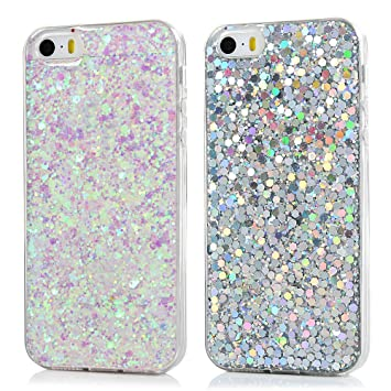 quality design 59485 d031b [2 Pack] iPhone SE Case Glitter, iPhone 5S 5 Case TPU Silicone Case Cover  Transparent Clear Bling Sparkle Protective Shell Non-Slip Shockproof Bumper  ...