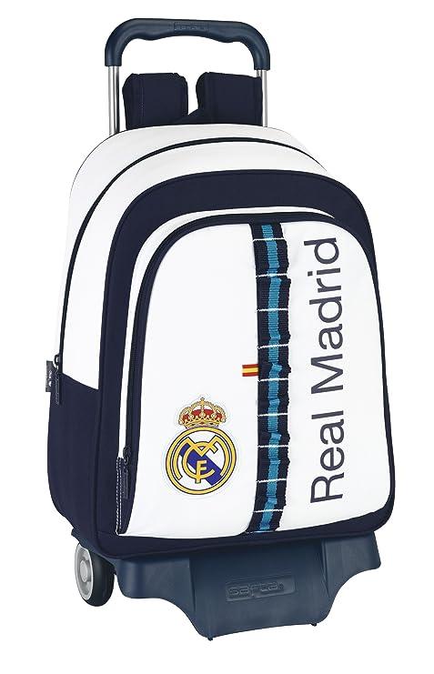 Real Madrid C.F.. - Mochila grande con ruedas, 33 x 43 x 15 cm