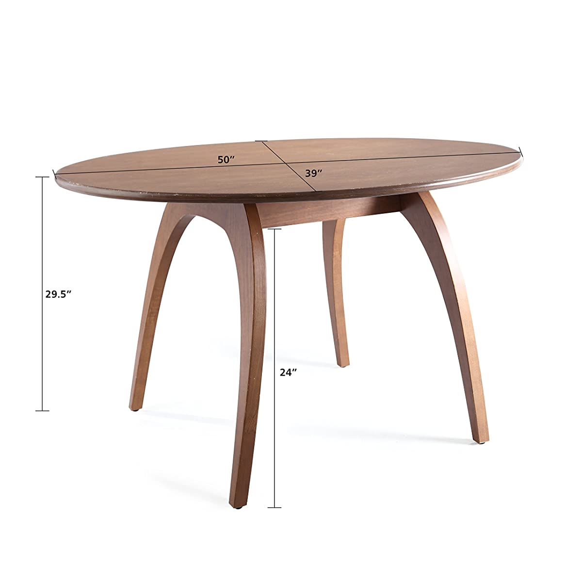 Haven Home Beckett Walnut Round Table, Oval Dining Table Conference Table