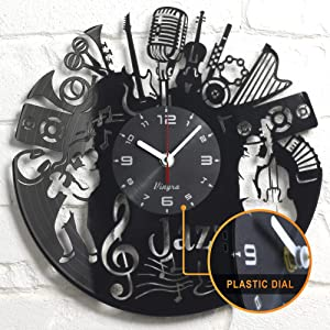 Jazz Music Clock - Music Vinyl Wall Clock - Music Jazz Wall Clock Musical Instrument Music Themed Vinyl Record Violin Jazz Wall Art Home Room Decor Unique Clocks Music Musician Gift Vinyl Black