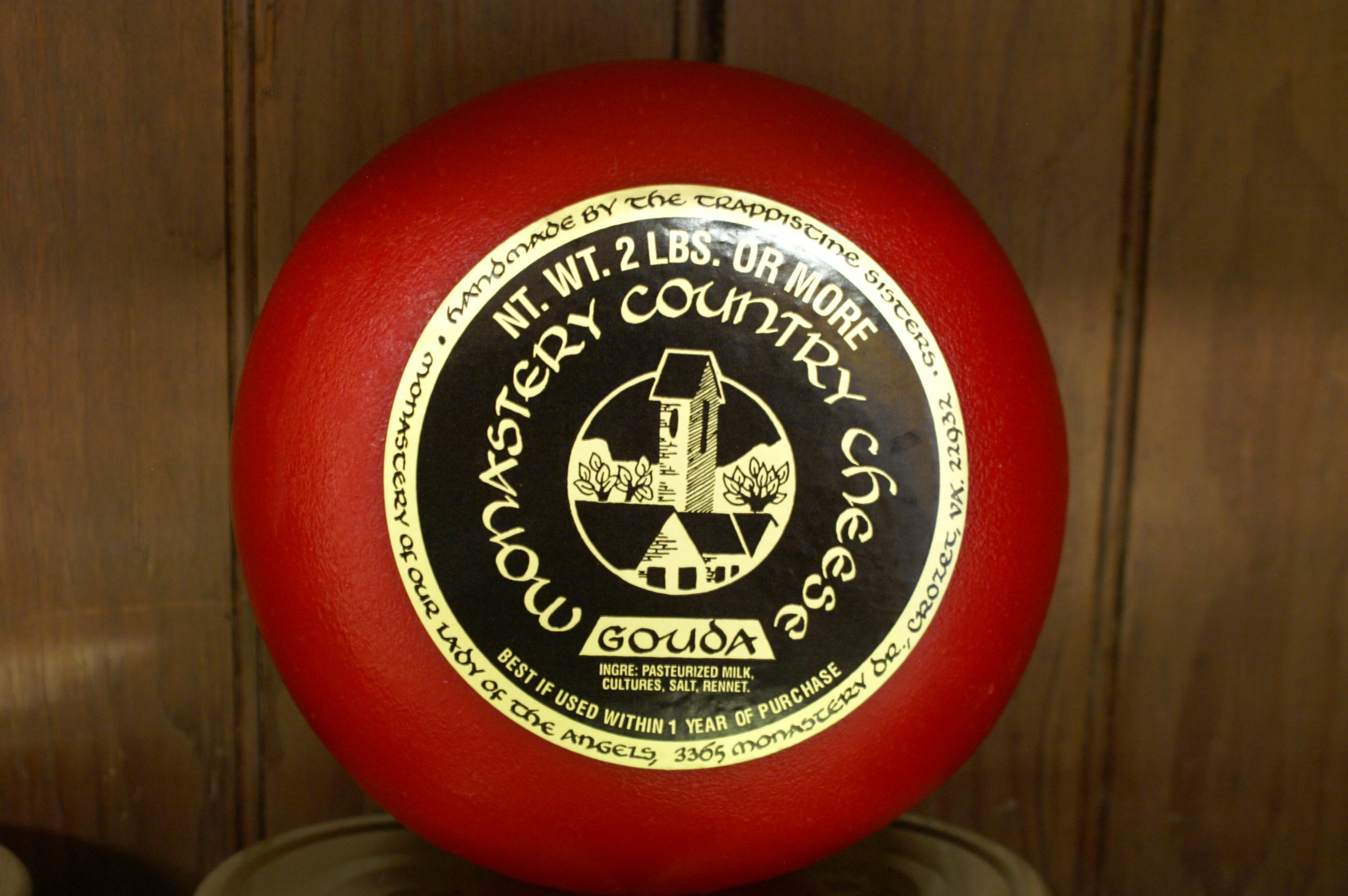 Monastery Country Gouda Cheese -All Natural Freshly Handmade 2 Pound Wheel in Wax Using Fresh on the Farm Milk for Perfect Taste & Texture--Semi-soft, Sweet & Buttery