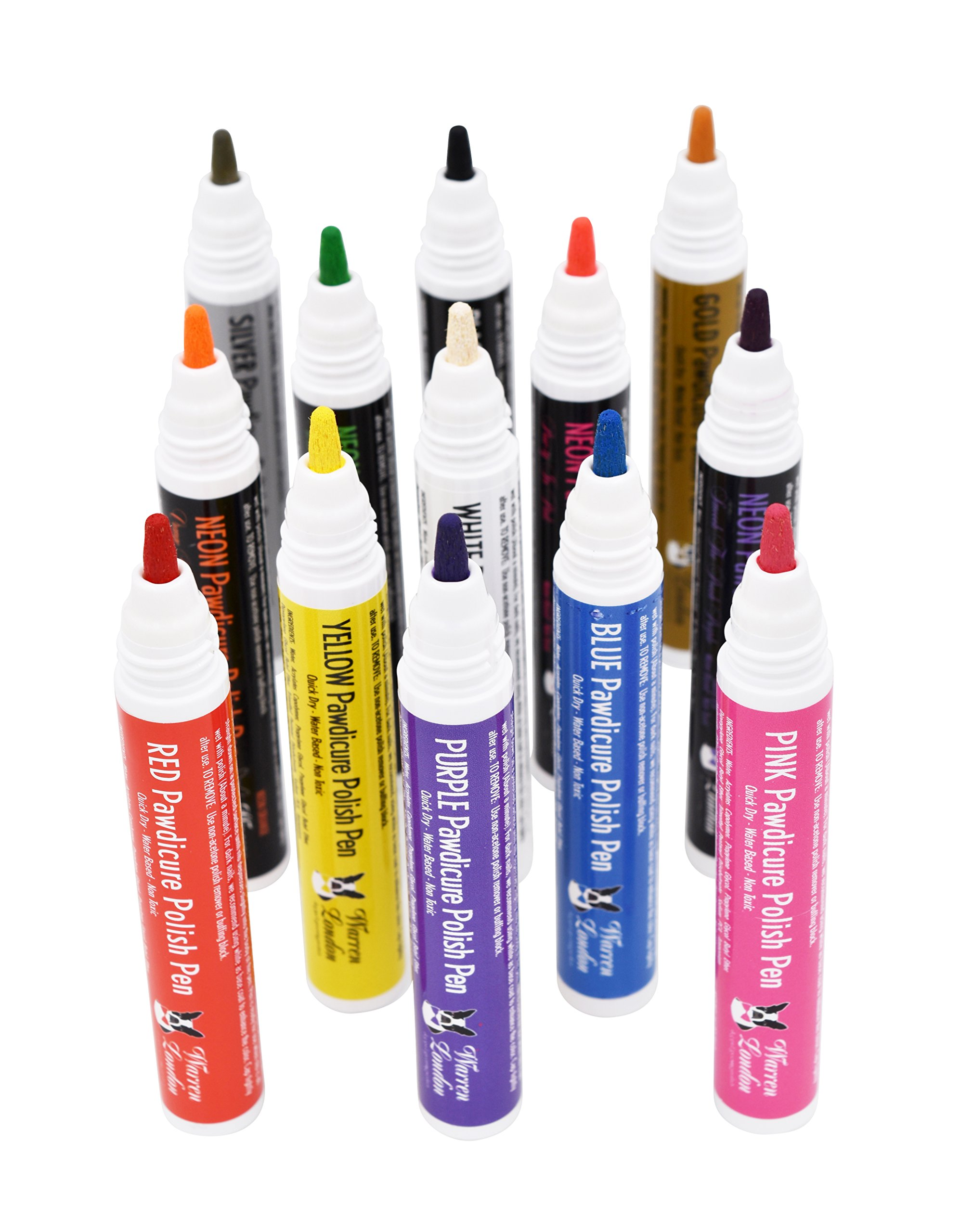 Warren London Pawdicure Dog Nail Polish Pen - Quick Dry - Water Based - Non Toxic - Made in USA - All 13 Colors by Warren London