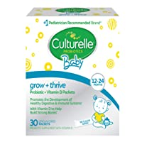 Culturelle Baby Grow + Thrive Probiotics + Vitamin D Packets   Supplements Good Bacteria Found in Breast Milk   Helps Promote a Healthy Immune System & Develop a Healthy Digestive System*   30 Count