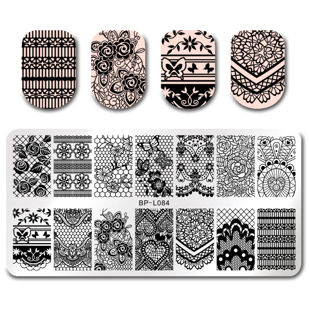 Born Pretty Nail Art Stamping Template Cartoon Aliens Panda Rectangle Manicure Print DIY Image Plate BP-L088