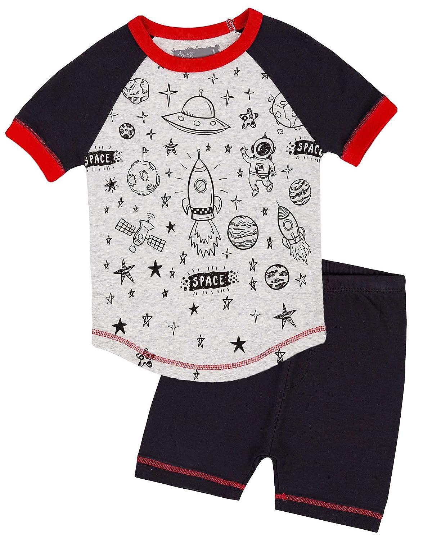 Deux par Deux Boys' Shorts and Space Print T-Shirt Pyjamas Set, Sizes 2-12