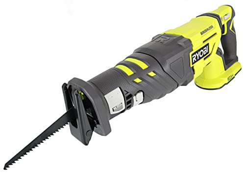 Ryobi P517 18V Lithium Ion Cordless Brushless 2,900 SPM Reciprocating Saw w Anti-Vibration Handle and Tool-Less Blade Changing Battery Not Included, Power Tool Only