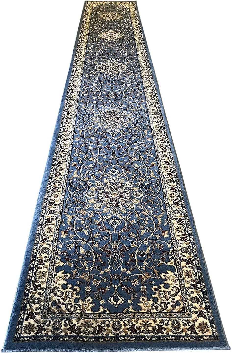 Traditional Blue Persian 330,000 Point Deir Debwan Design 603 (31 Inch X 9 Feet 10 Inch )