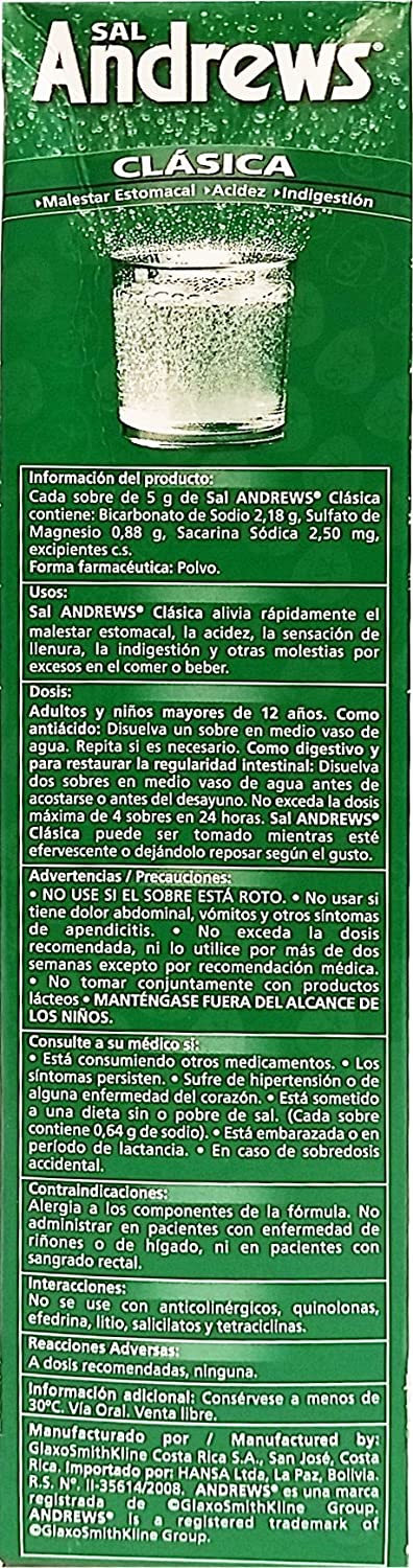 Amazon.com: Sal Andrews Antacid 50 Envelopes - Antiacido (Pack of 12): Health & Personal Care