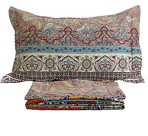 FADFAY Brand Cotton Bed Sheet Set Boho Fitted Sheet 4Pcs-Twin
